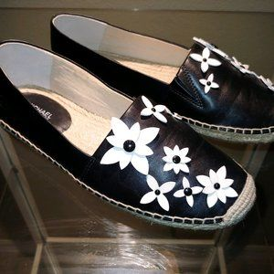 Michael Kors Lola Espadrilles B&W with Flowers 7.5